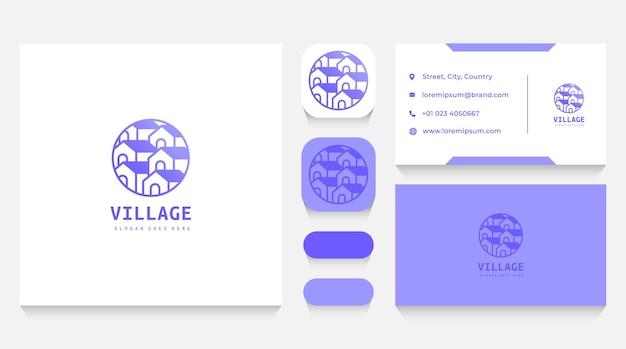 Häuser dorf logo vorlage und visitenkarte