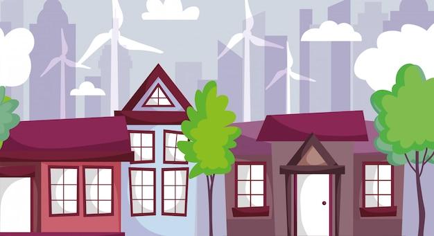 Häuser mit windkraftanlagen