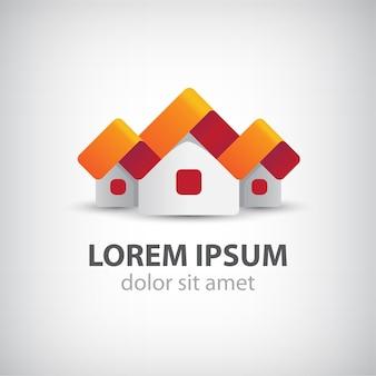 Häuser origami papier logo auf grau isoliert