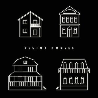 Häuser stellten gezogenen weißen entwurf auf einem schwarzen hintergrund ein.