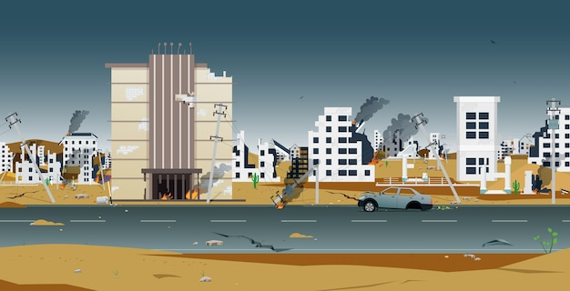 Häuser und gebäude in der stadt wurden durch den krieg zerstört