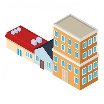 Häuser und gebäude isometrisch