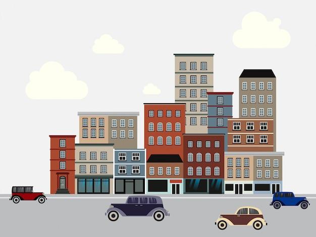 Häuser und straßen mit autos