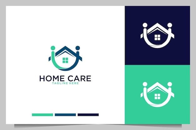 Häusliche pflege mit menschen und hauslogo-design