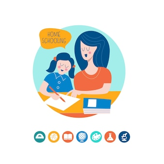 Häuslicher unterricht. das konzept einer guten ausbildung zu hause.