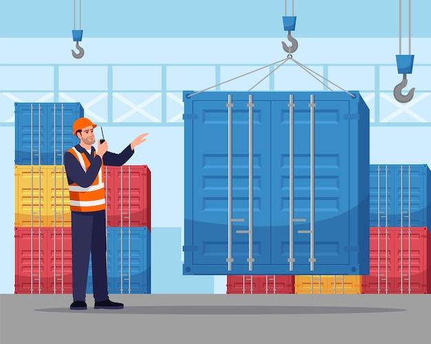Hafenarbeiter-halbillustration. frachtcontainer laden. frachtversand. lager männlicher arbeiter im schutzhelm mit walkie-talkie-radio-zeichentrickfigur für kommerzielle verwendung