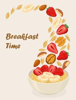 Haferbrei in schüssel mit bananen, beeren, erdbeere, nüssen und getreide auf weißem hintergrund. gesundes frühstück