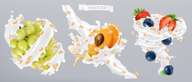 Haferflocken, früchte und milchspritzer. 3d realistisches vektorsymbol