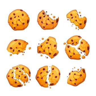 Haferkeks mit schokoladenkrümeln isoliert. satz gebissene und zerbrochene kekse.