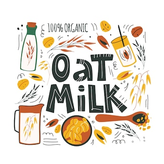 Hafermilch. hand gezeichnete illustration und beschriftung von haferelementen für gesunde, organische, vegane, vegetarische, tägliche diäternährung. netter karikaturvektor für druck, karte, plakat auf weißem hintergrund