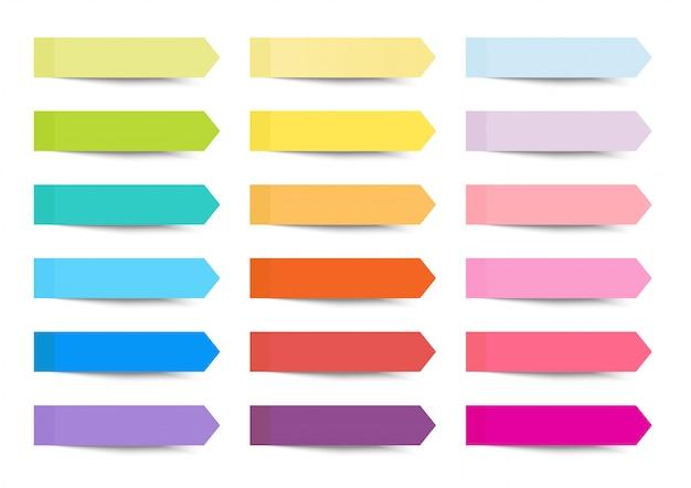 Haftender pfeilindex der beitragsnotiz eingestellt mit mehrfarben