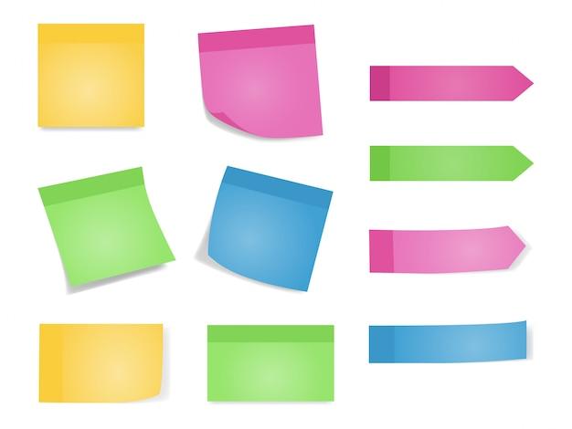 Haftnotizen set von farbbögen von briefpapieren