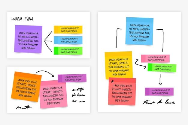 Haftnotiztafeln infografiken in flachem design