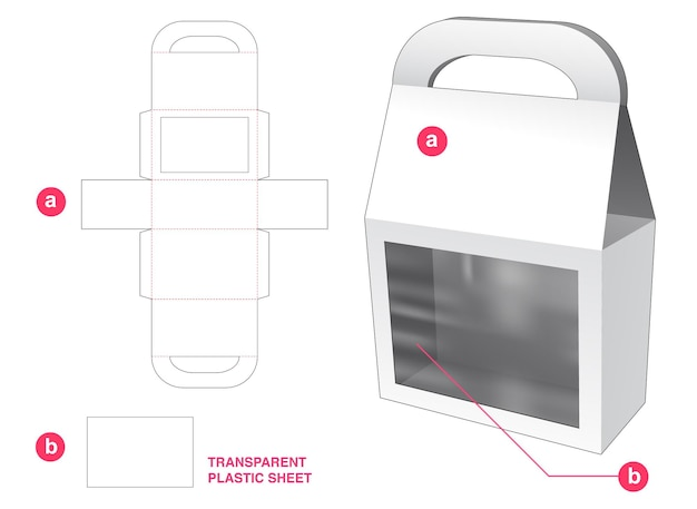 Hahdle bag box und fenster mit transparenter plastikfolie stanzschablone