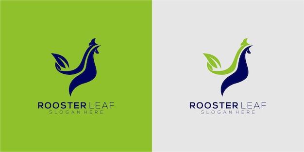 Hahn blatt logo template design vektor emblem designkonzept kreative symbol icon