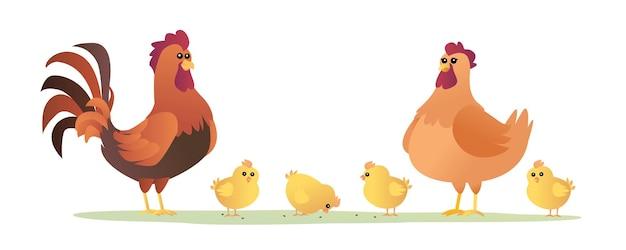 Hahn henne und küken satz von hühnerkarikaturillustration