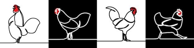 Hahn huhn oneline continuous line art premium-vektorset