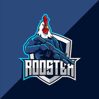Hahn mit pistolen-esport-maskottchen-logo-design
