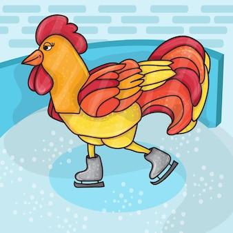 Hahn-vogel-skate auf schlittschuhbahn. hahn geht zum sport. winterliche freizeitaktivität. chinesisches kalender-sternzeichen-horoskop