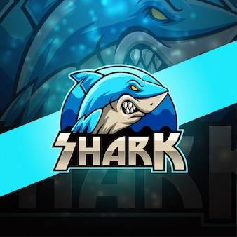 Hai esport maskottchen logo design