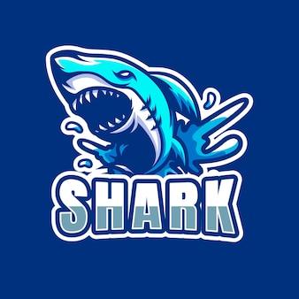 Hai maskottchen esport logo design