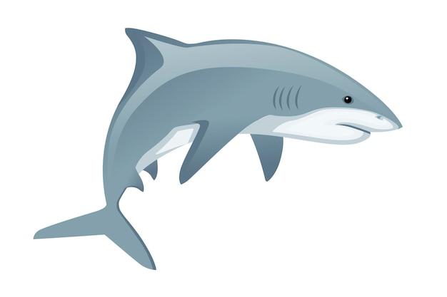Hai mit geschlossenem mund riesigen apex raubtier cartoon tier design flache vektorgrafiken