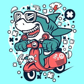 Hai scooterist cartoon