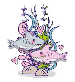 Haie in meer niedlichen cartoon