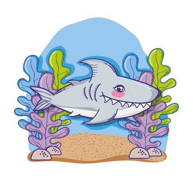Haifisch in der netten karikatur des meeres
