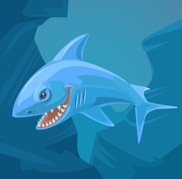 Haifischcharakter mit scharfen zähnen