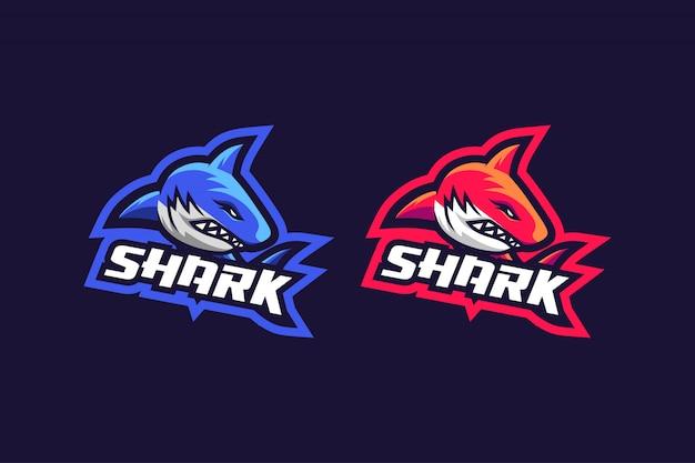 Haifischesport-logoentwurf mit farbe mit 2 wahlen