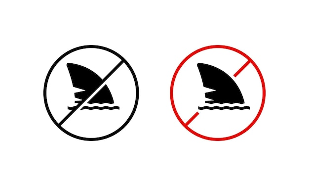 Haifischflosse-symbol. schwimmen verboten. gefährlich. achten sie auf das konzept. vektor auf weißem hintergrund isoliert. eps 10.
