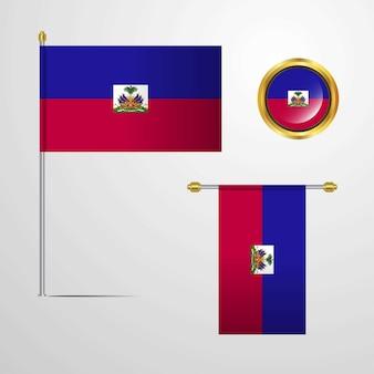 Haiti, das flaggendesign mit ausweisvektor wellenartig bewegt