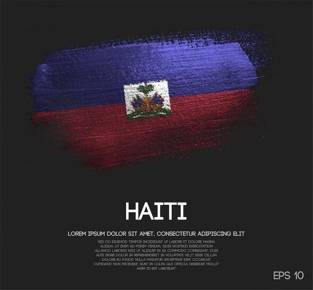 Haiti-flagge aus glitzer sparkle pinselfarbe