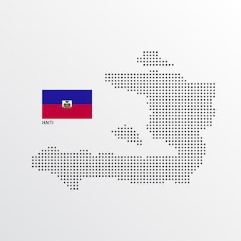 Haiti-kartenentwurf mit flaggen- und hellem hintergrundvektor