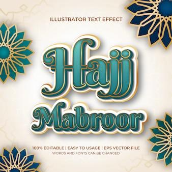 Hajj mabroor texteffekt in türkis und gold