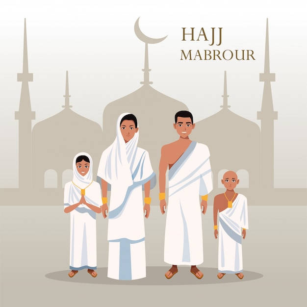 Hajj mabrour feier mit gruppe islamische pilger in der moschee
