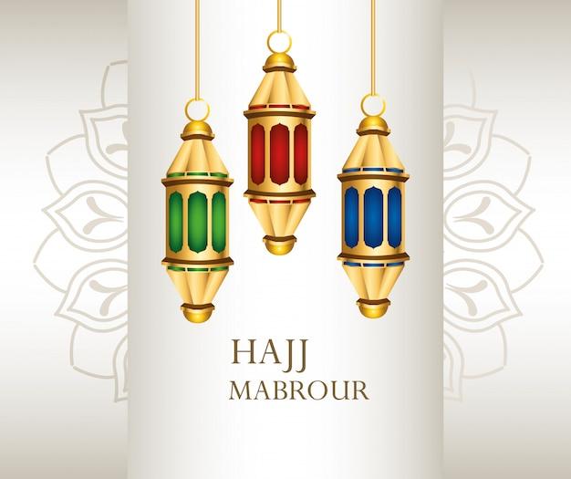 Hajj mabrour feier mit hängenden goldenen laternen