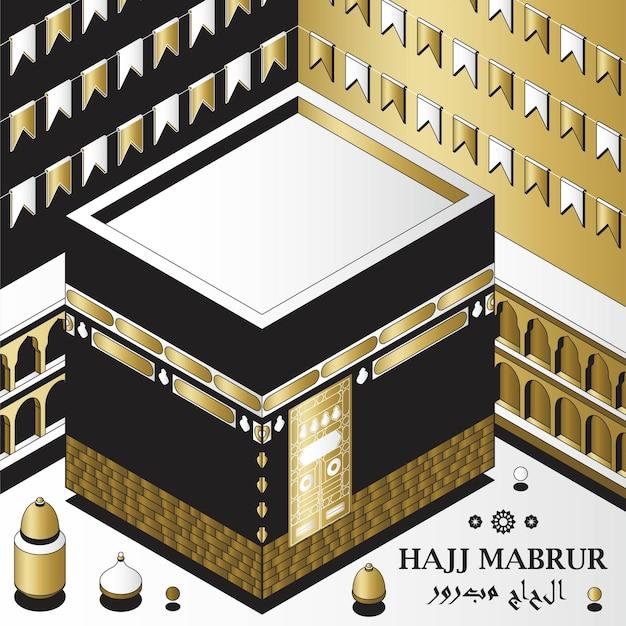 Hajj mabrur islamischer hintergrund isometrische grußkarte mit kaaba traditionellen laternen moschee und ga...