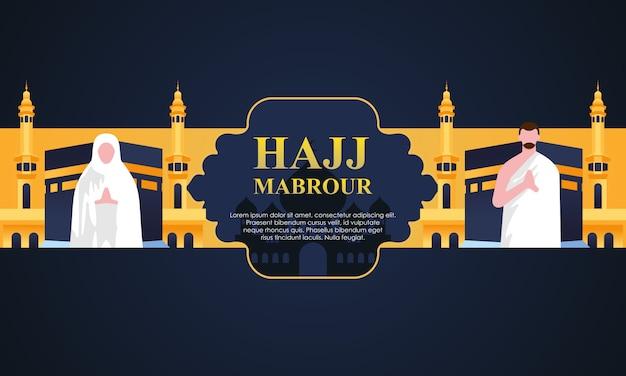 Hajj und umrah pilgerfahrt beten in der nähe von kaaba.