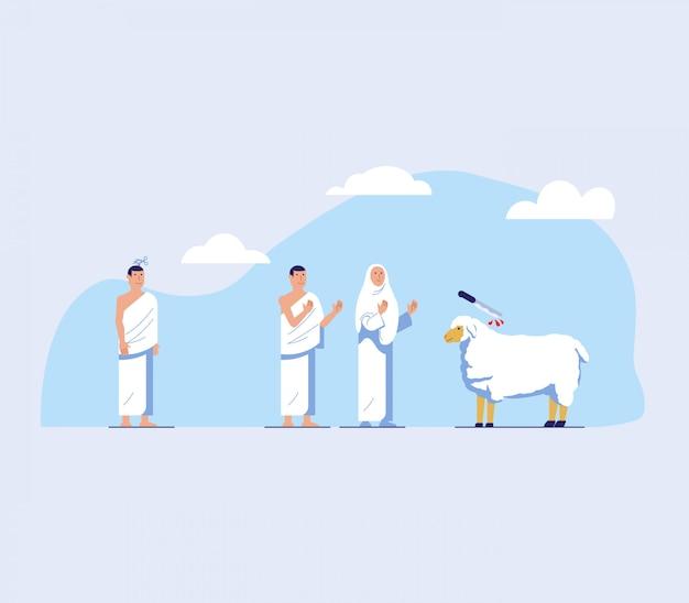 Hajj-wallfahrt tun haarschnitt und tieropfer