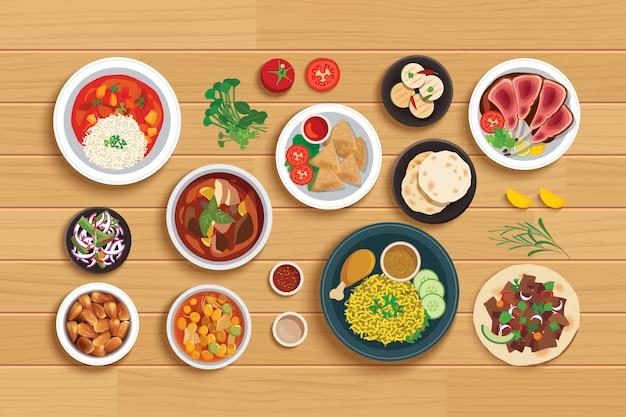 Halal essen gesetzt auf draufsicht holztisch