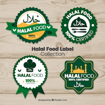 Halal-lebensmittel-label-kollektion mit flachem design