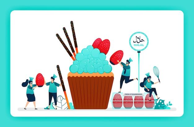Halal-lebensmittelmenüillustration des süßen cupcakes.