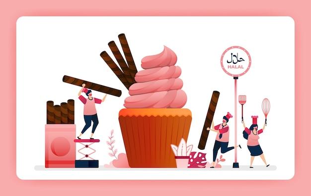 Halal-lebensmittelmenüillustration des süßen erdbeer-cupcakes.
