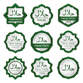 Halal lebensmittelverpackung etiketten aufkleber tag sammlung
