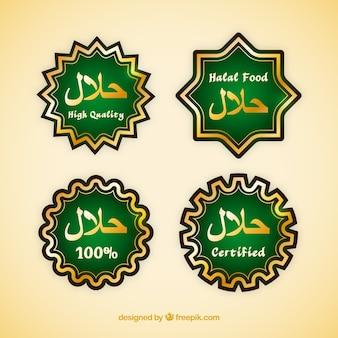 Halal-nahrungsmittelaufklebersammlung mit goldener art