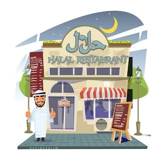 Halal-restaurant mit restaurantbesitzer