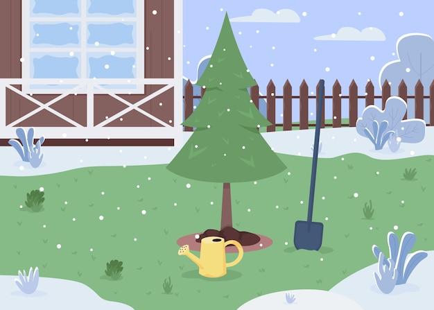 Halb flache illustration des winterhinterhofs. gepflanzter baum zum anbau