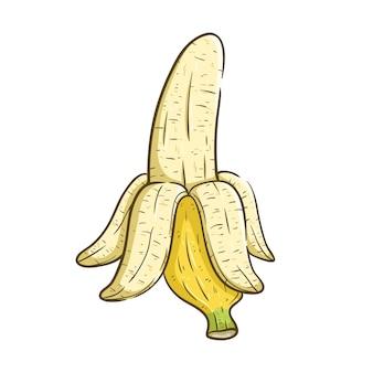 Halb geschälte banane mit farbe und mit line art oder skizzenhaften stil